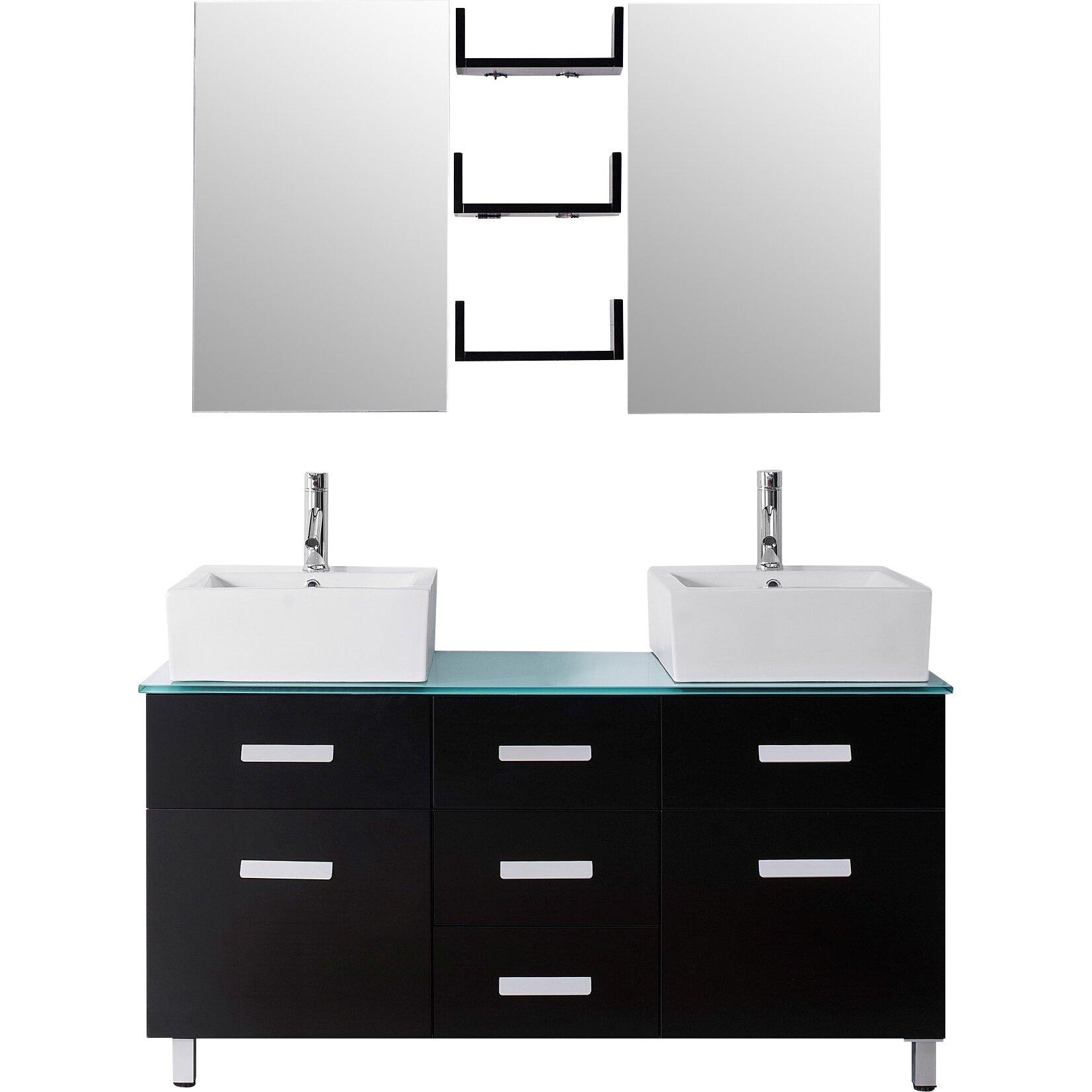 Virtu Ultra Modern Series 56 Double Bathroom Vanity Set