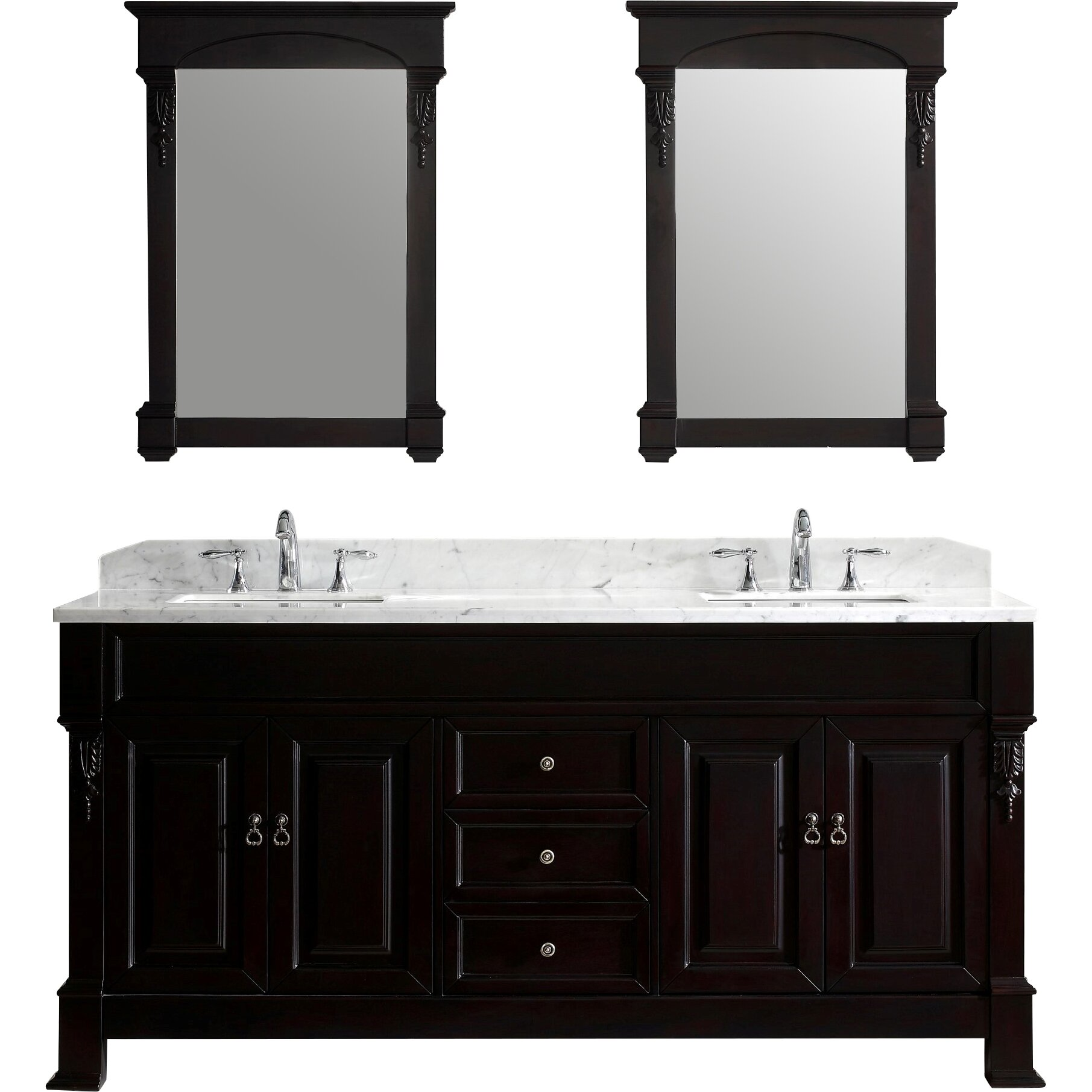 Virtu Huntshire 72 Double Bathroom Vanity Set With Mirror Wayfair