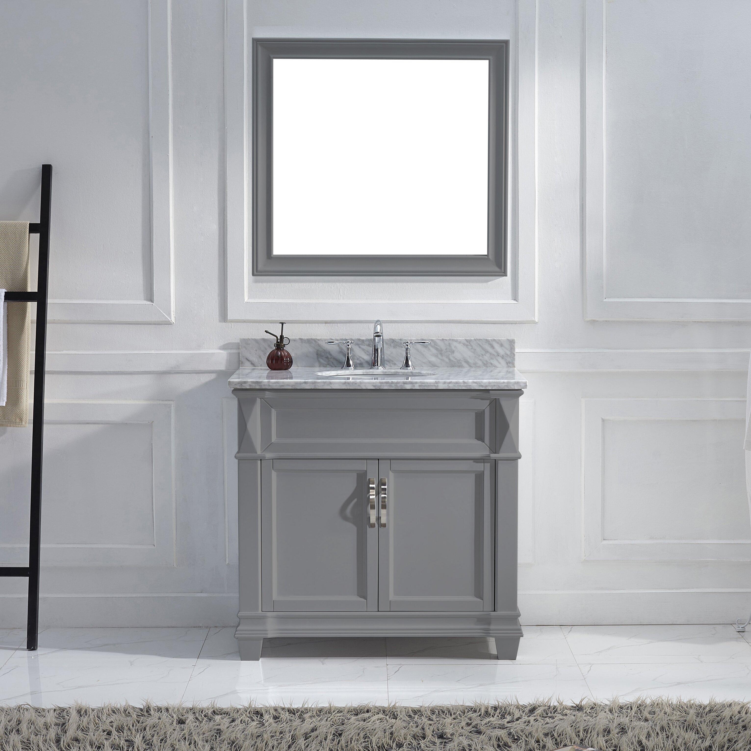 Virtu Victoria 36 Single Bathroom Vanity Set With Carrara White Stone Top Wayfair