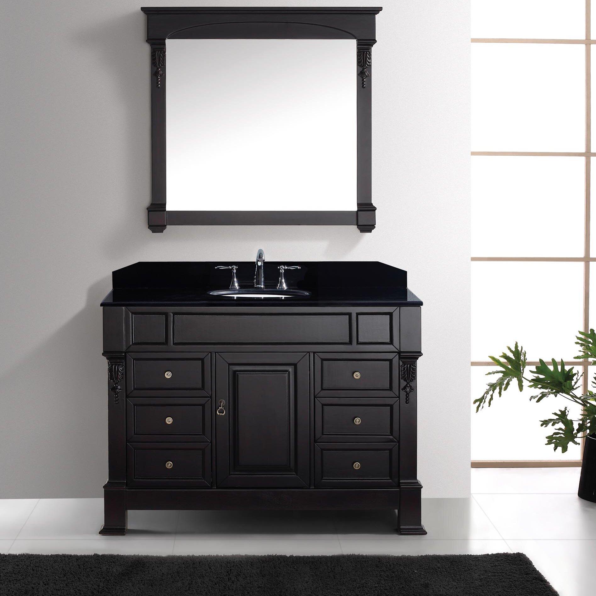 """Black Bathroom Vanity Set: Virtu Victoria 47.3"""" Single Bathroom Vanity Set With Black"""