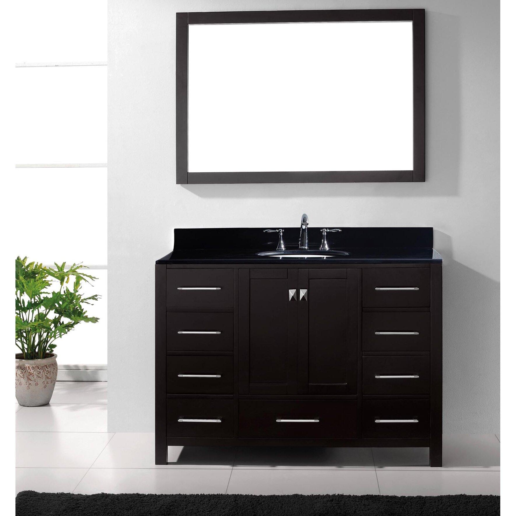 """Black Bathroom Vanity Set: Virtu Caroline Avenue 49"""" Single Bathroom Vanity Set With"""