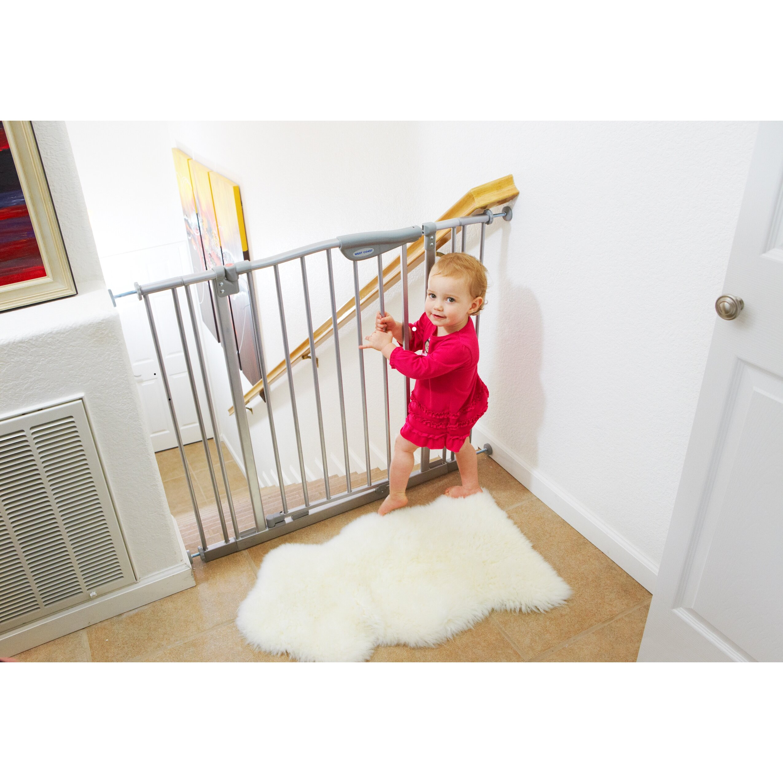 L A Baby Tall Metal Auto Close Safety Gate With 4