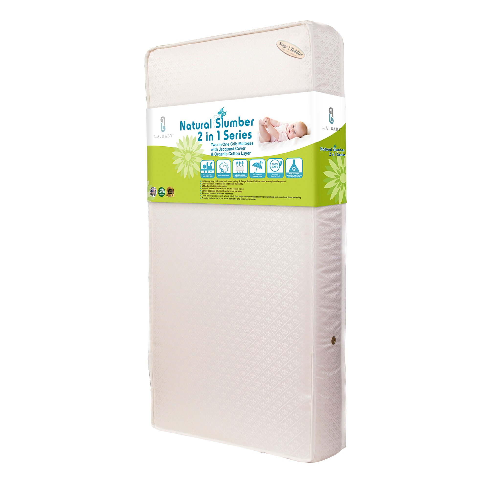 """L A Baby Two in e 5 75"""" Crib Mattress with Jacquard"""