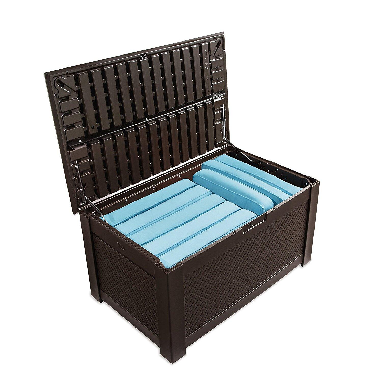 Rubbermaid Teak Deck Box Storage Bench