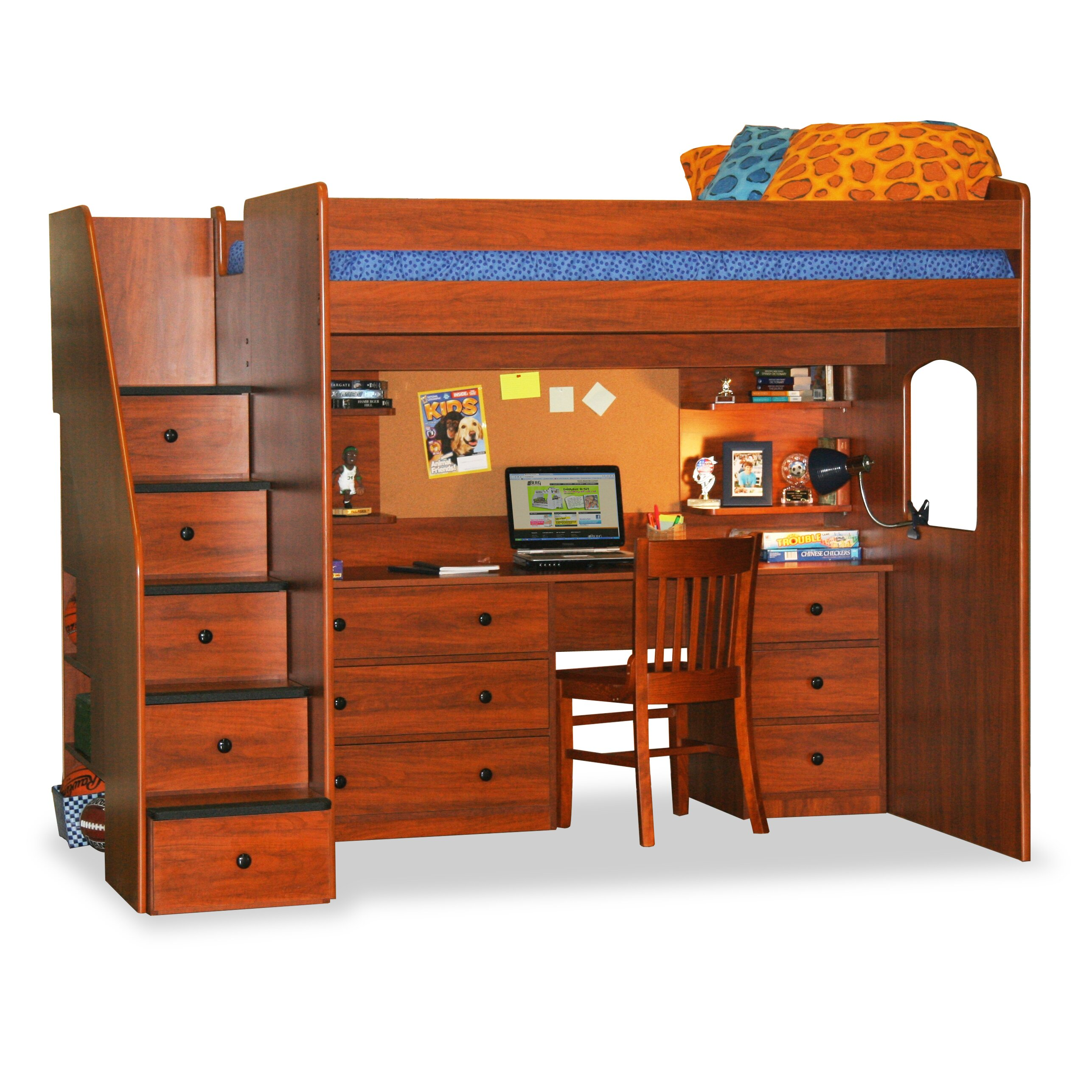 berg utica loft bed with storage reviews wayfair. Black Bedroom Furniture Sets. Home Design Ideas