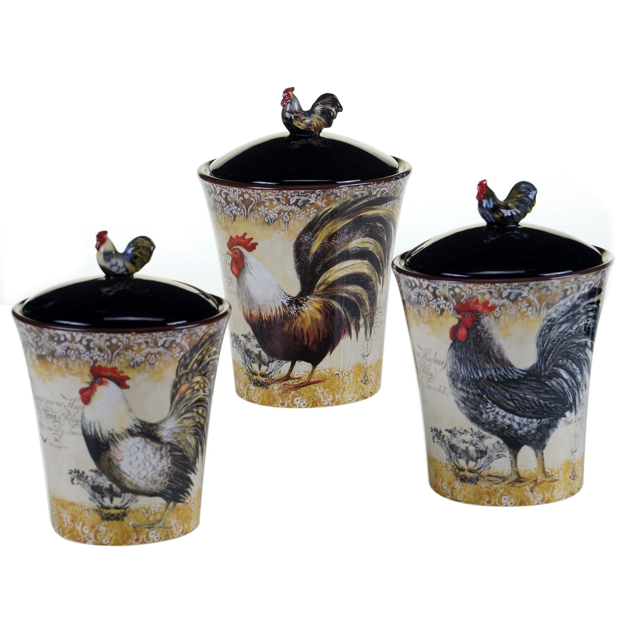 Certified International Vintage Rooster 3 Piece Canister