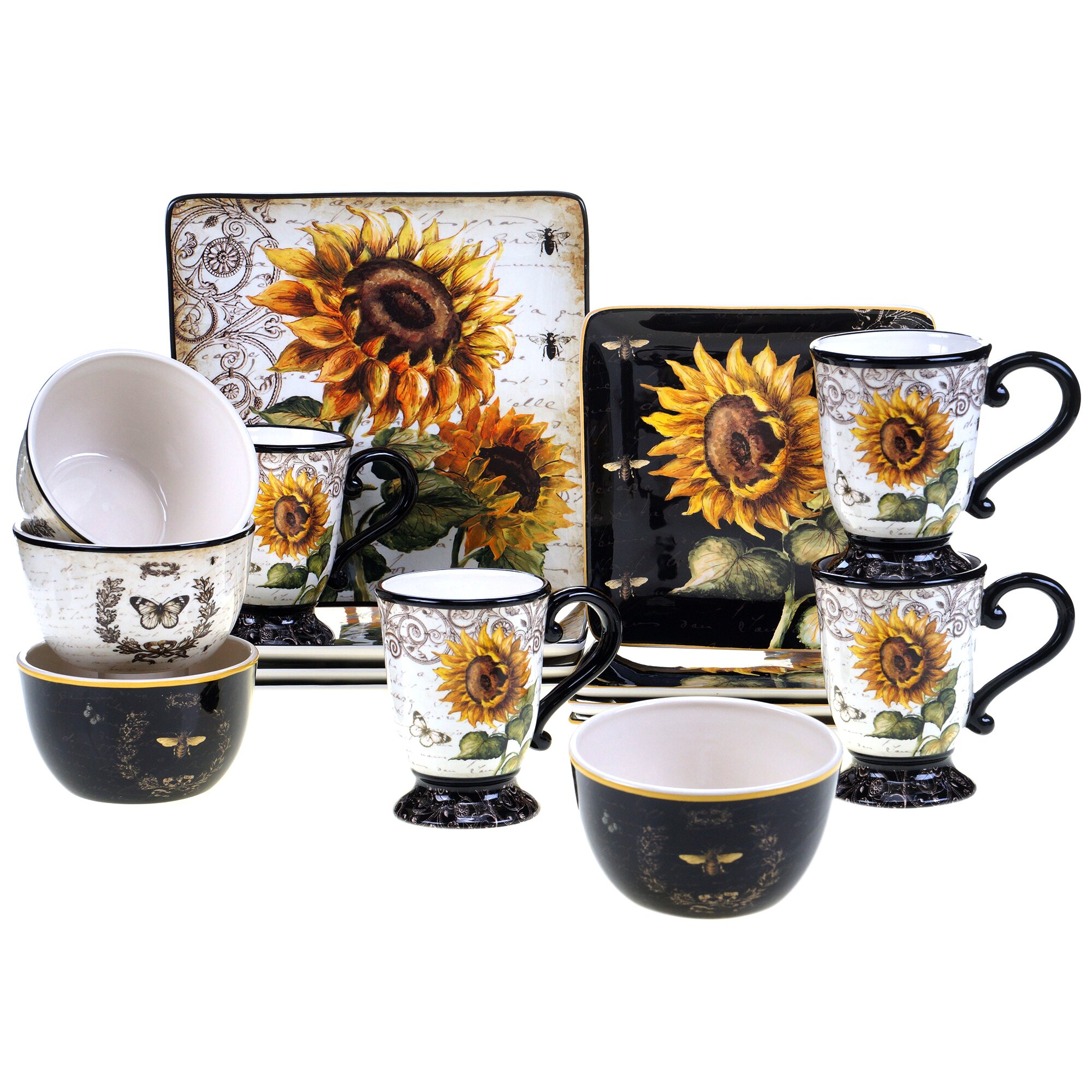 Certified international french sunflower 16 piece dinnerware set amp reviews wayfair ca