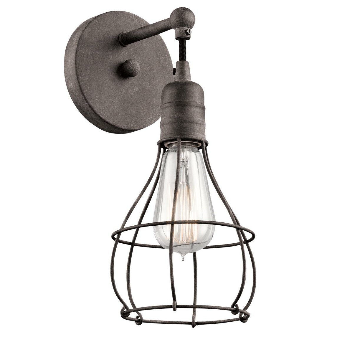 kichler industrial 1 light wall sconce reviews wayfair