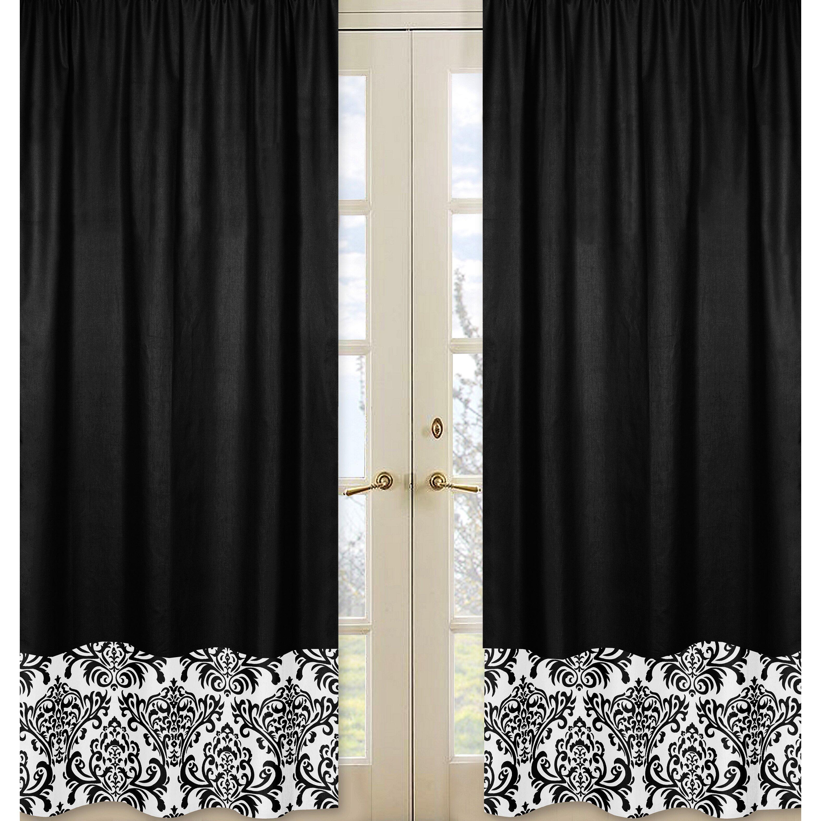 sweet jojo designs isabella black and white curtain panels