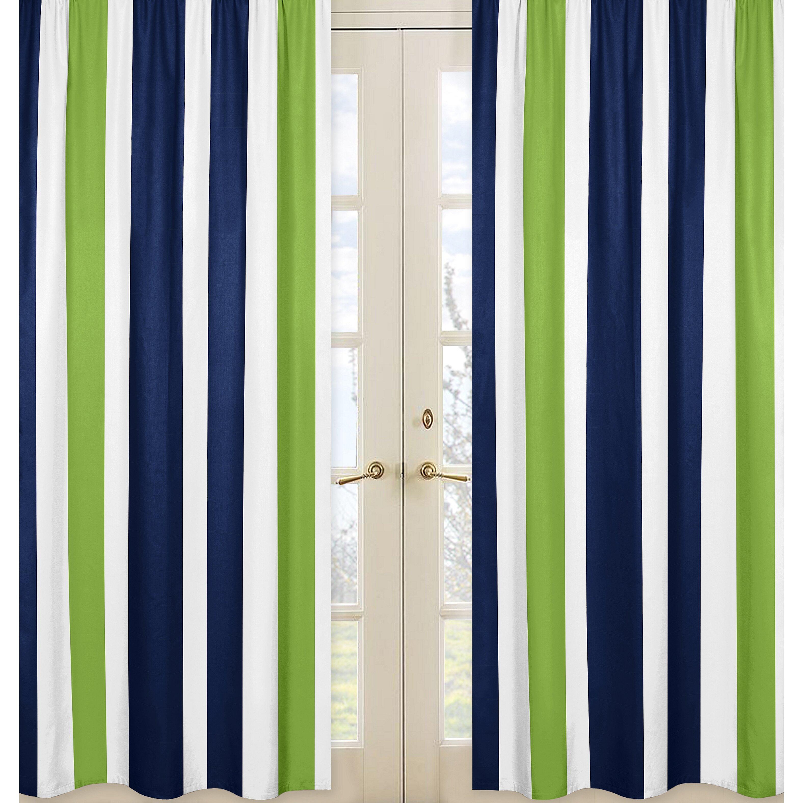 Sweet Jojo Designs Navy Blue And Lime Green Stripe Curtain Panel Reviews Wayfair