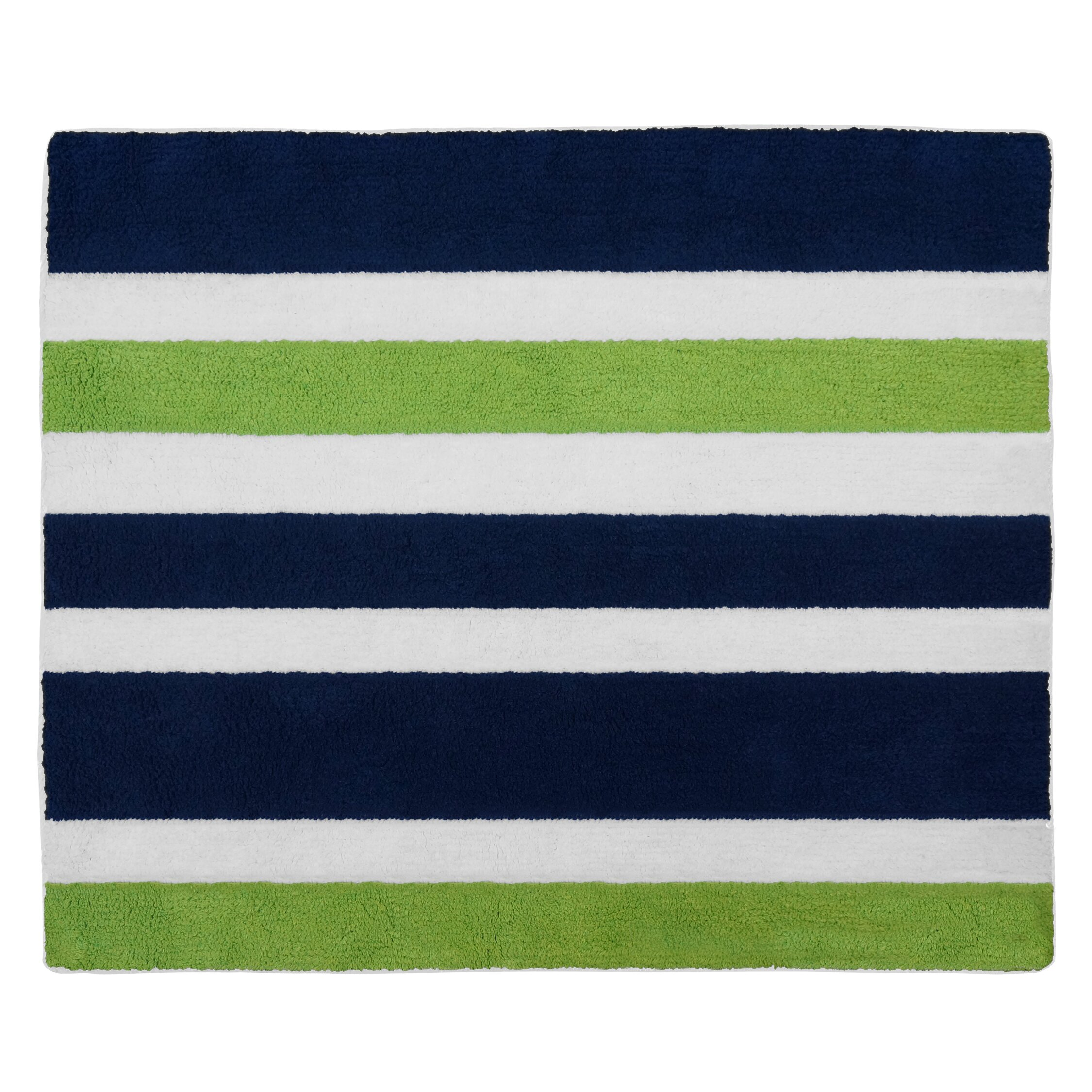 Sweet Jojo Designs Navy Blue And Lime Green Stripe Area
