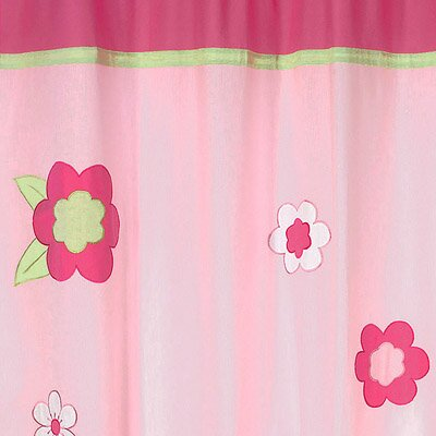 sweet jojo designs flower pink and green cotton shower curtain reviews wayfair. Black Bedroom Furniture Sets. Home Design Ideas