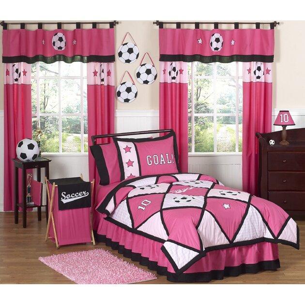 sweet jojo designs soccer pink kid comforter collection reviews wayfair. Black Bedroom Furniture Sets. Home Design Ideas