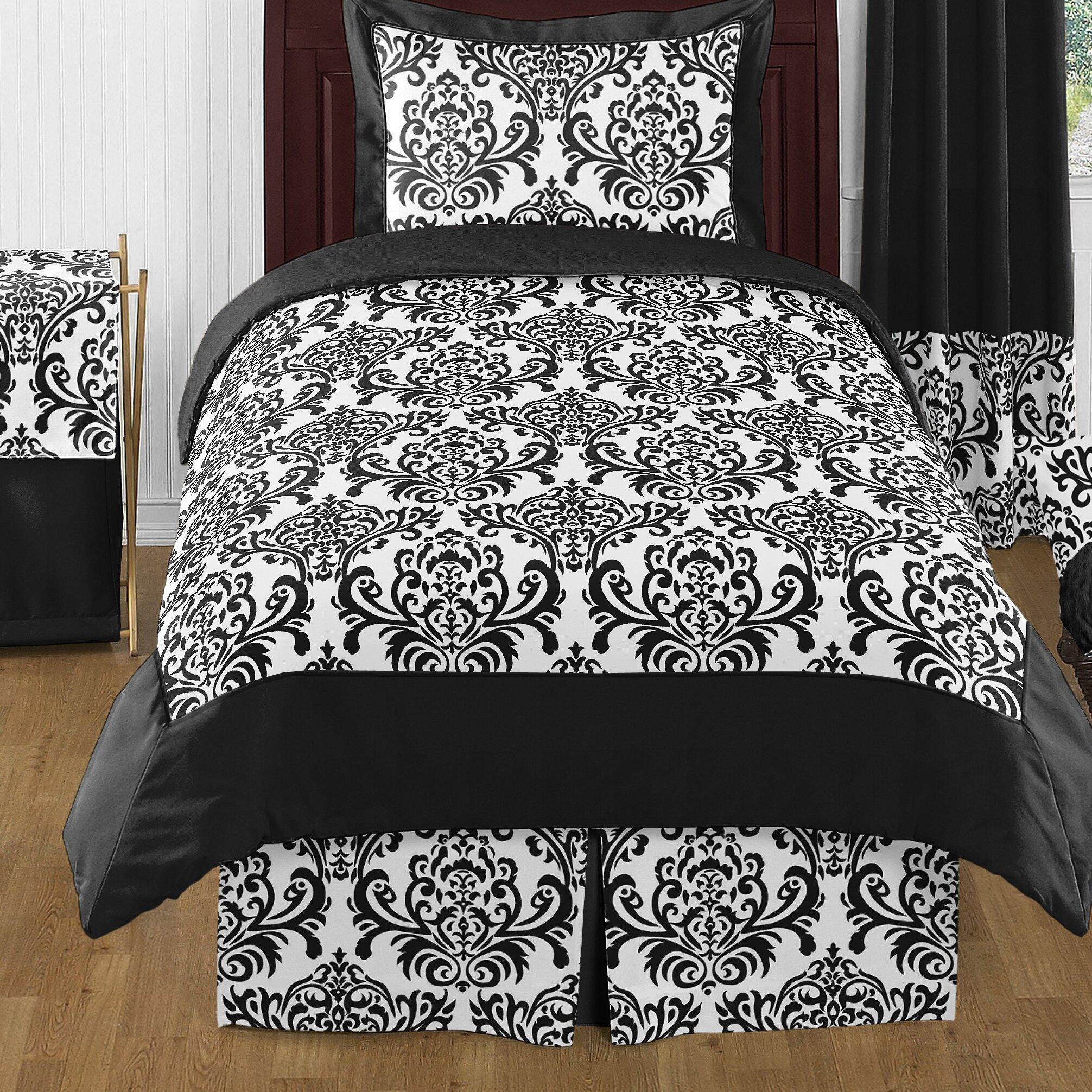 Sweet jojo designs isabella black and white 3 piece full queen comforter set reviews wayfair - Black and white design comforter ...