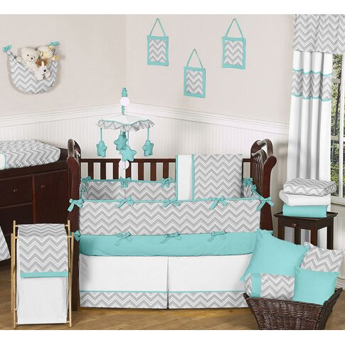 Sweet jojo designs zig zag 9 piece crib bedding set for Zig zag bedroom ideas