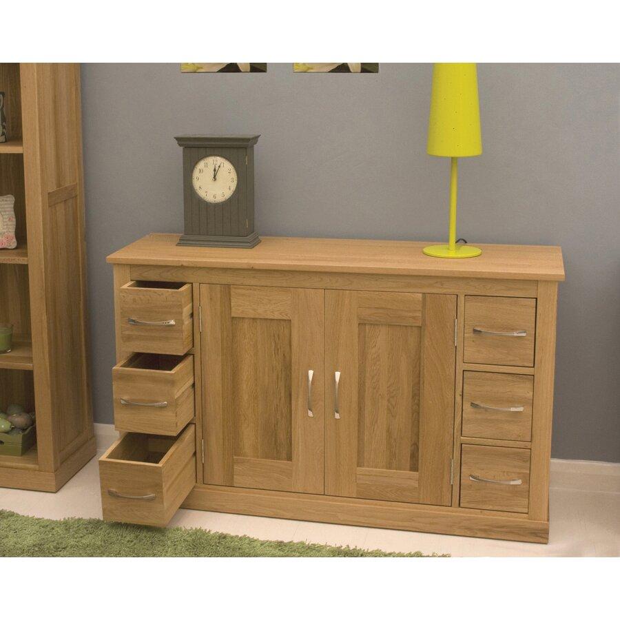 baumhaus mobel oak 2 door 6 drawer sideboard reviews