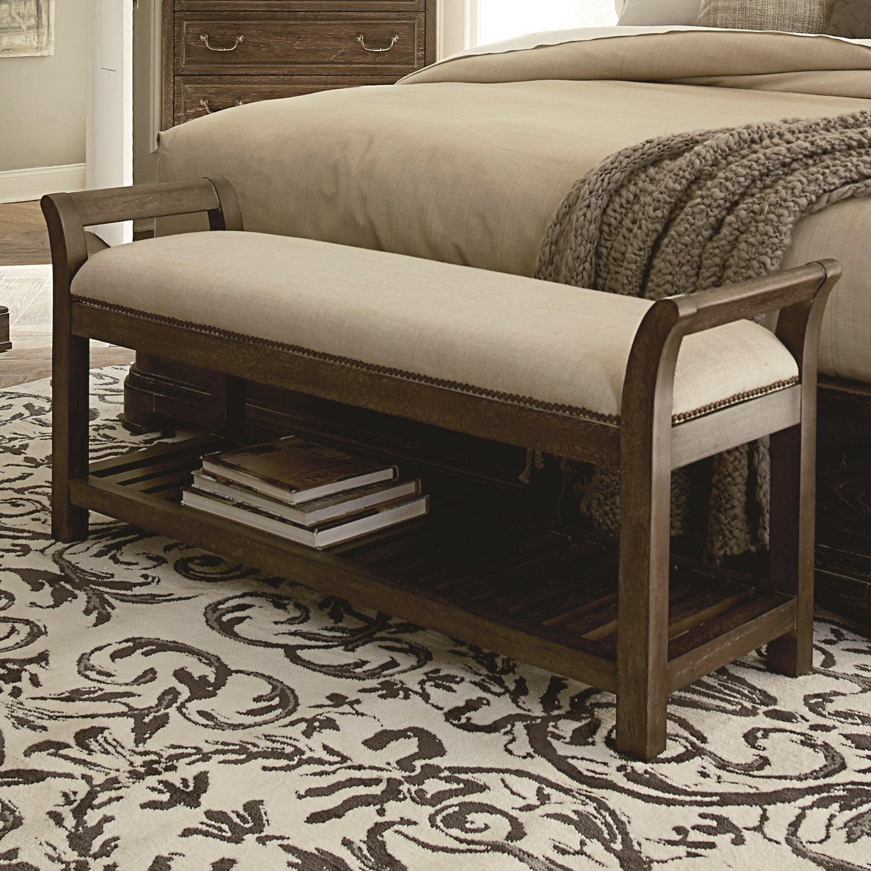 darby home co pond brook upholstered bedroom bench reviews wayfair