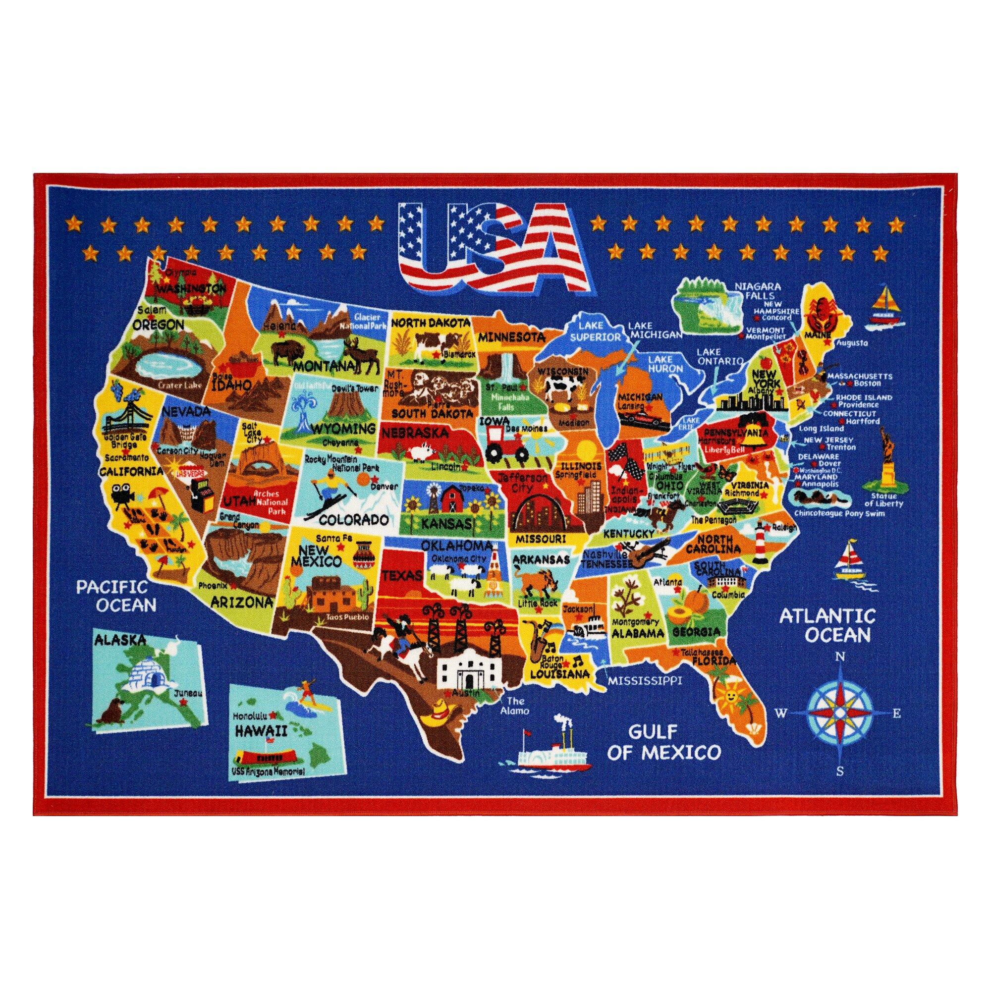 Smithsonian Rugs USA Map Area Rug