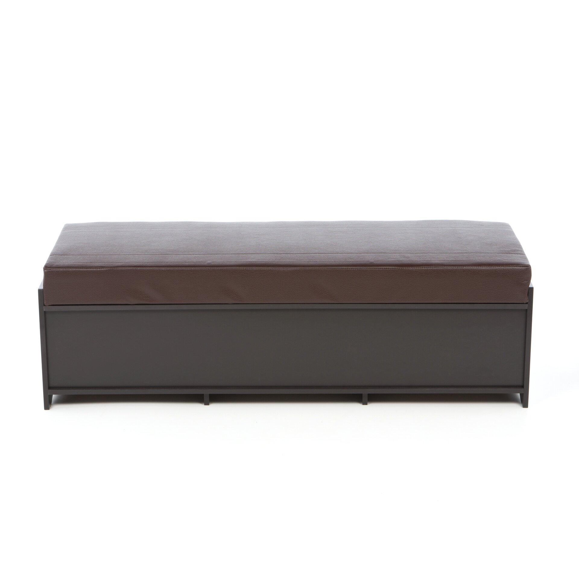 Badger basket kid 39 s storage bench with cushion and three bins in espresso with espresso Storage bench cushion