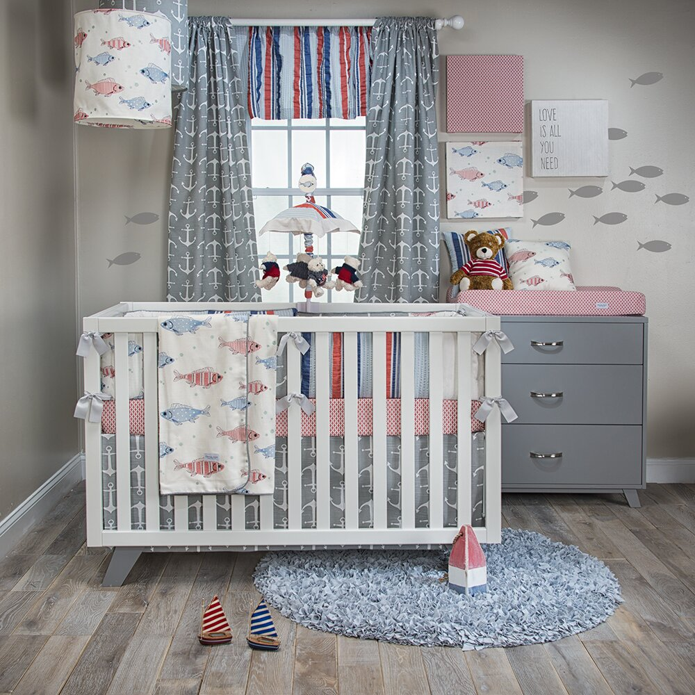 Glenna jean fishtales 3 piece crib bedding set wayfair for Fishing nursery bedding