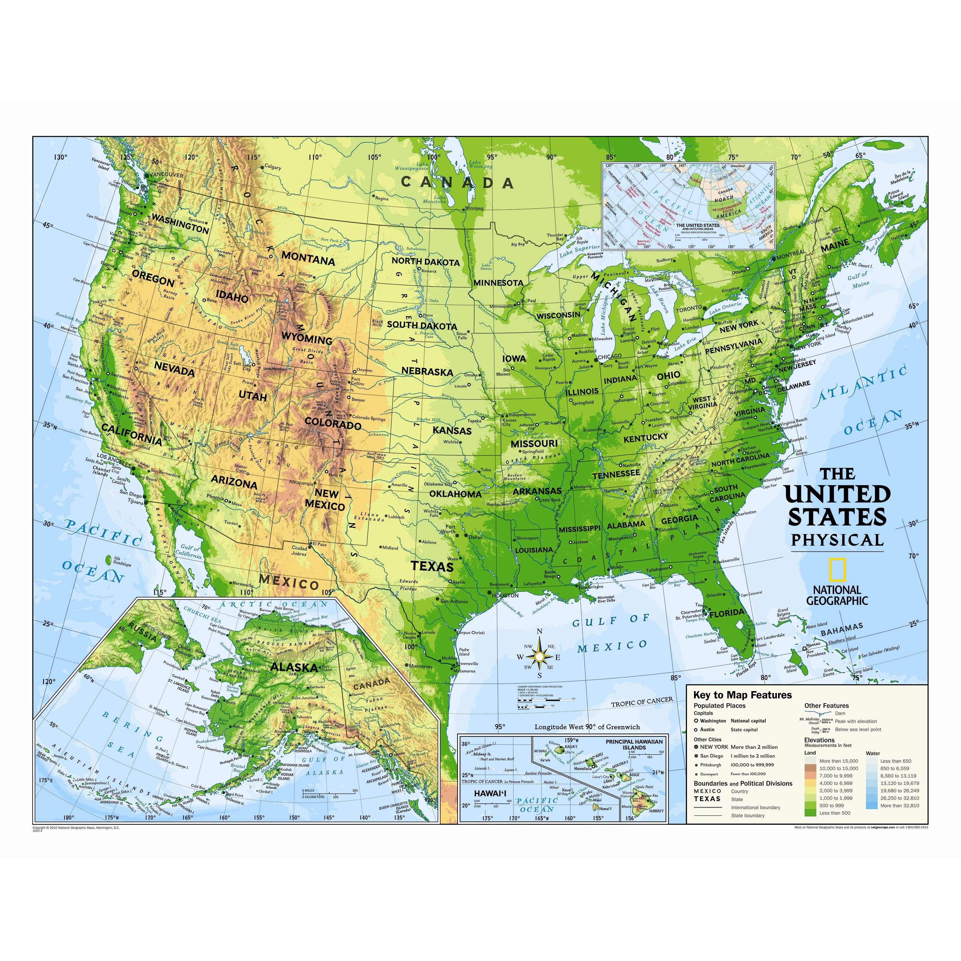 National Geographic Maps Kids Physical Usa Wall Map