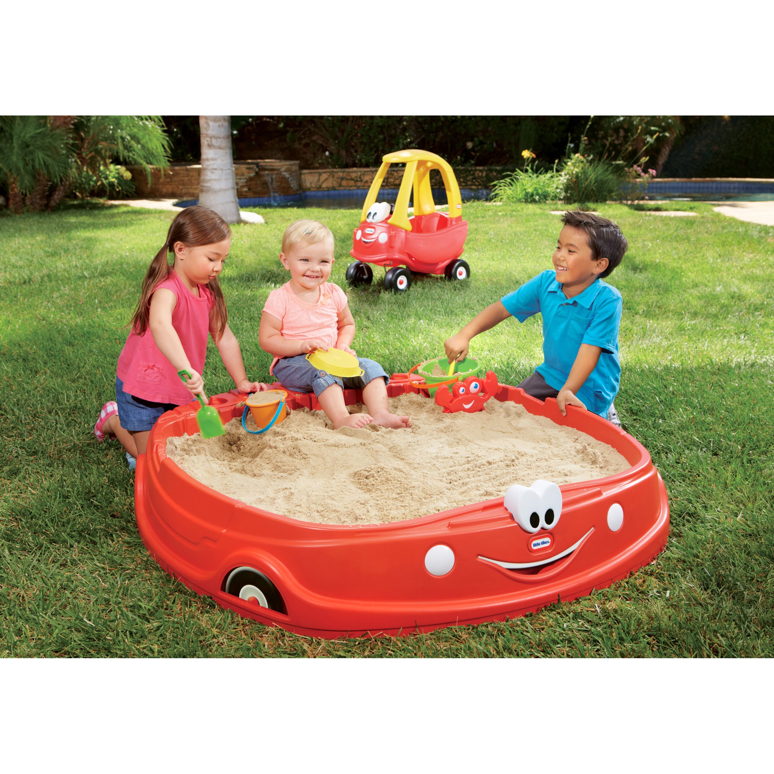 Little tikes cozy coupe rectangular sandbox for Little tikes 8 in 1