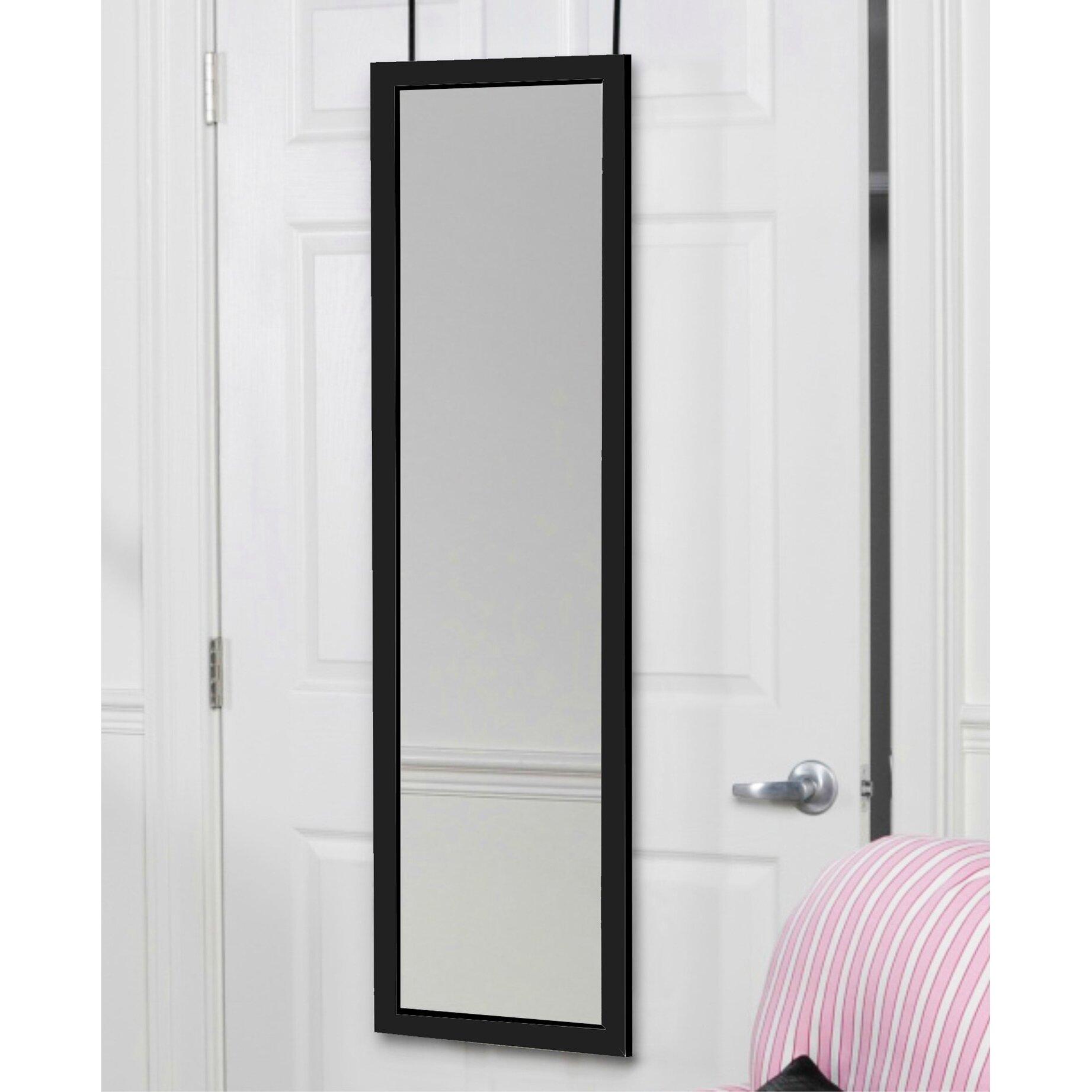 Mirrotek over the door full length mirror reviews wayfair for Black full length wall mirror