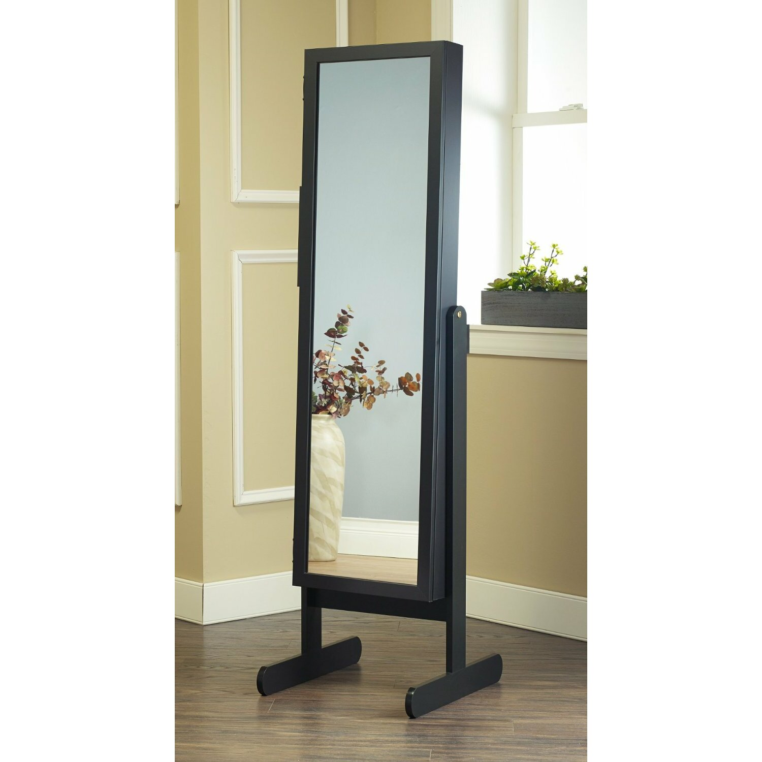 Standing Jewelry Armoire ~ Mirrotek free standing jewelry armoire with mirror