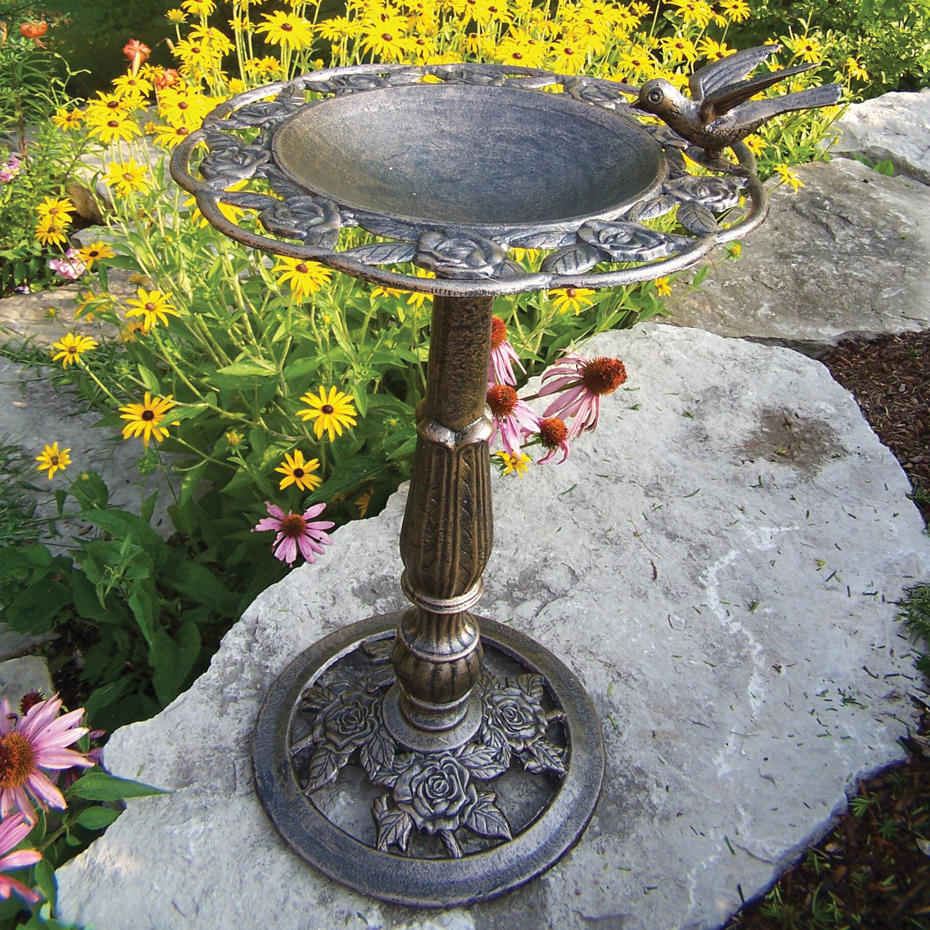 Oakland Living Rose Bird Bath Reviews Wayfair
