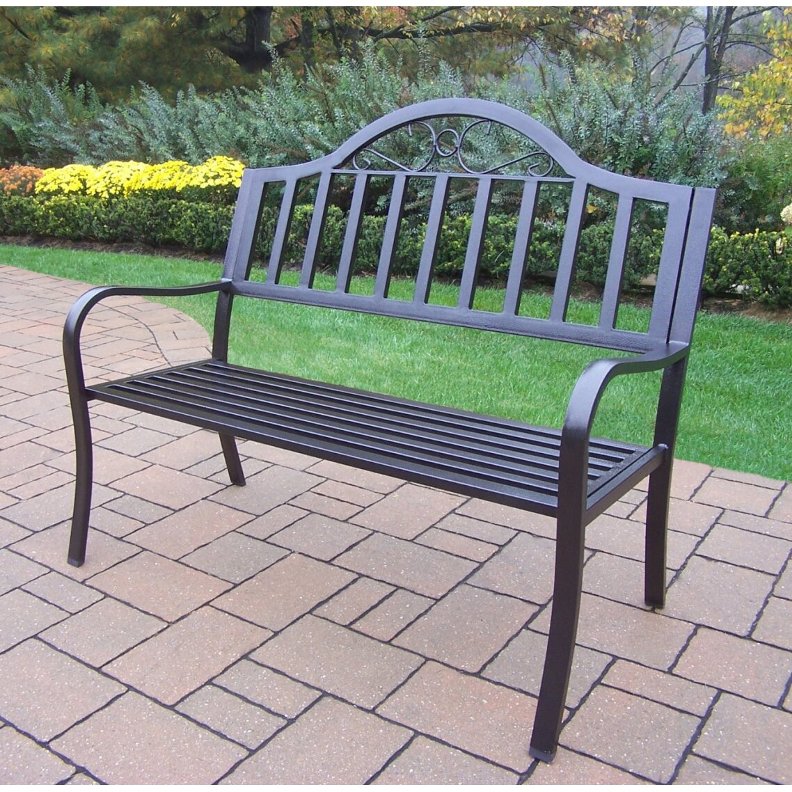 Oakland Living Rochester Iron Garden Bench Reviews Wayfair