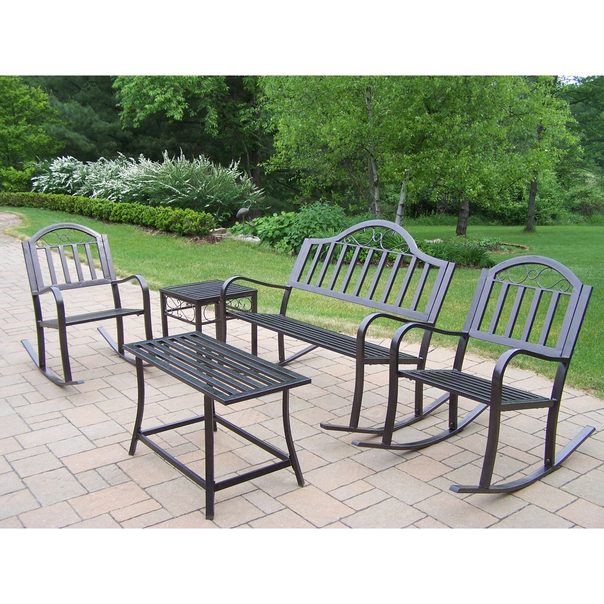 Outdoor Patio Furniture Rochester Ny: Oakland Living Rochester 5 Piece Rocker Seating Group Set