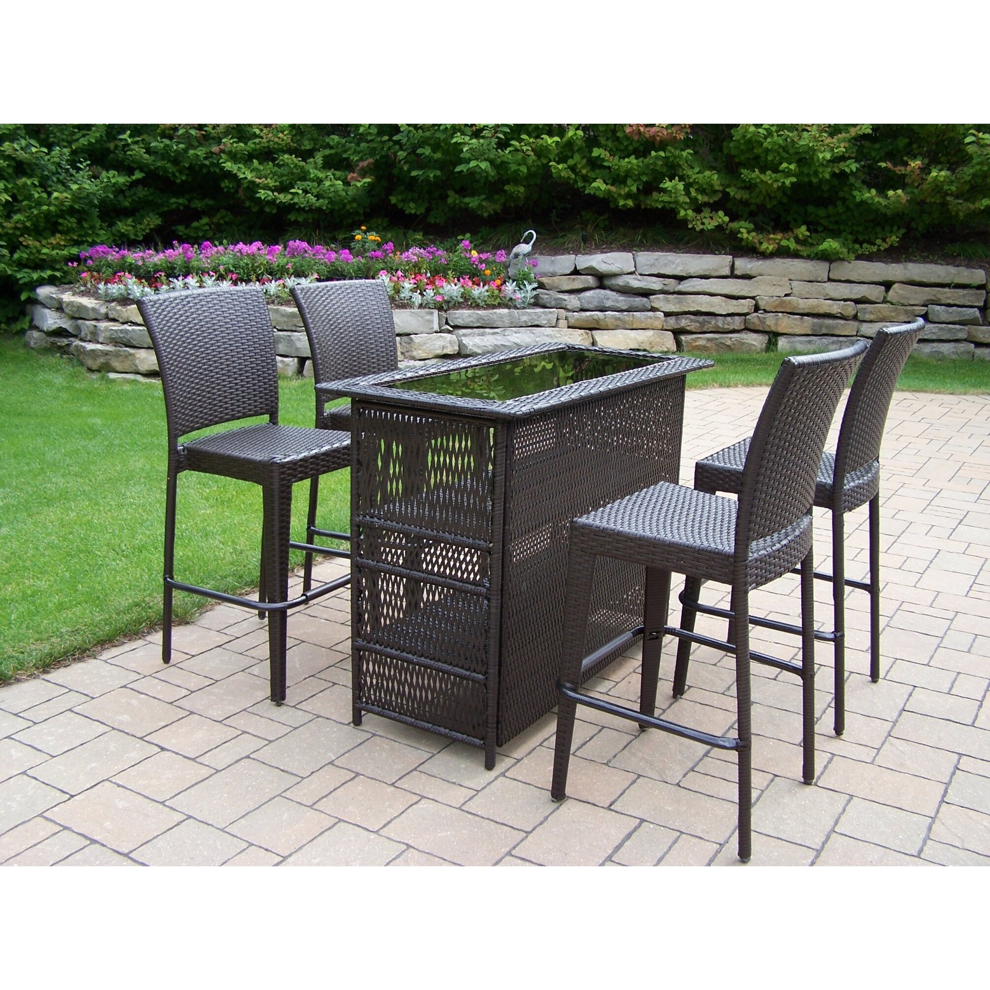 Oakland Living Elite Resin Wicker 5 Piece Bar Set | Wayfair on Outdoor Living Wicker id=67274