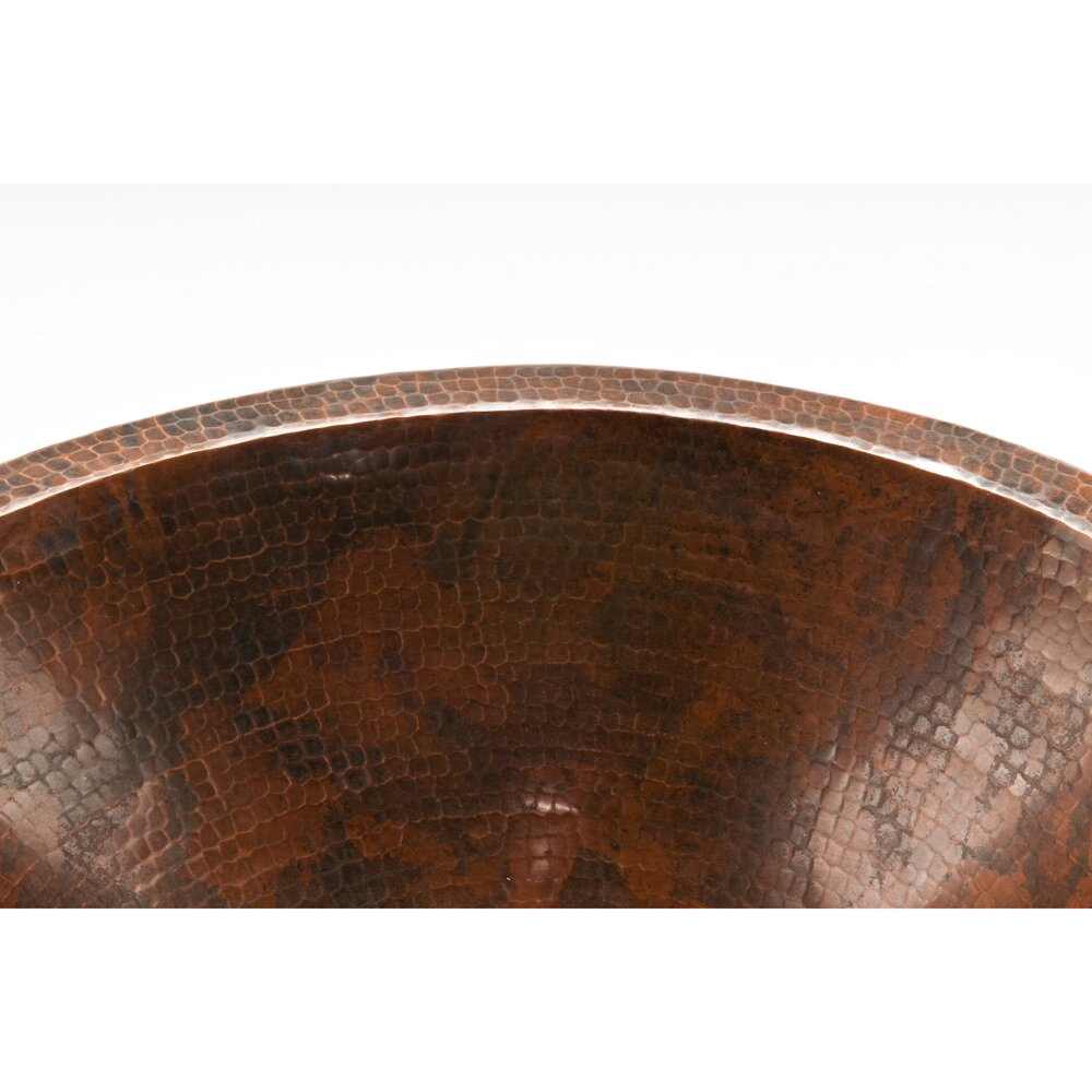Premier copper products master bath oval undermount for Hammered copper undermount bathroom sink