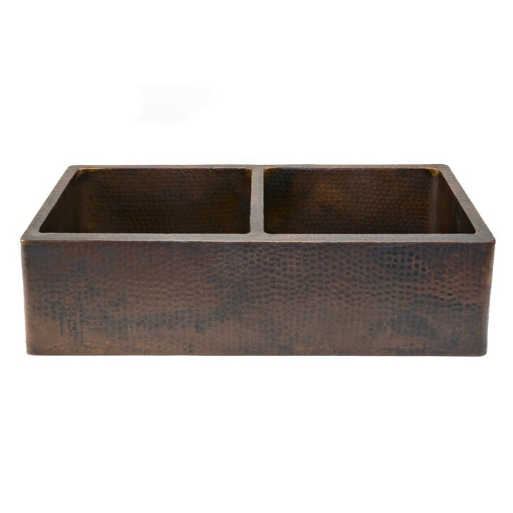 hammered copper farmhouse kitchen sinks premier copper products 33 quot x 22 quot hammered 50 50 6976