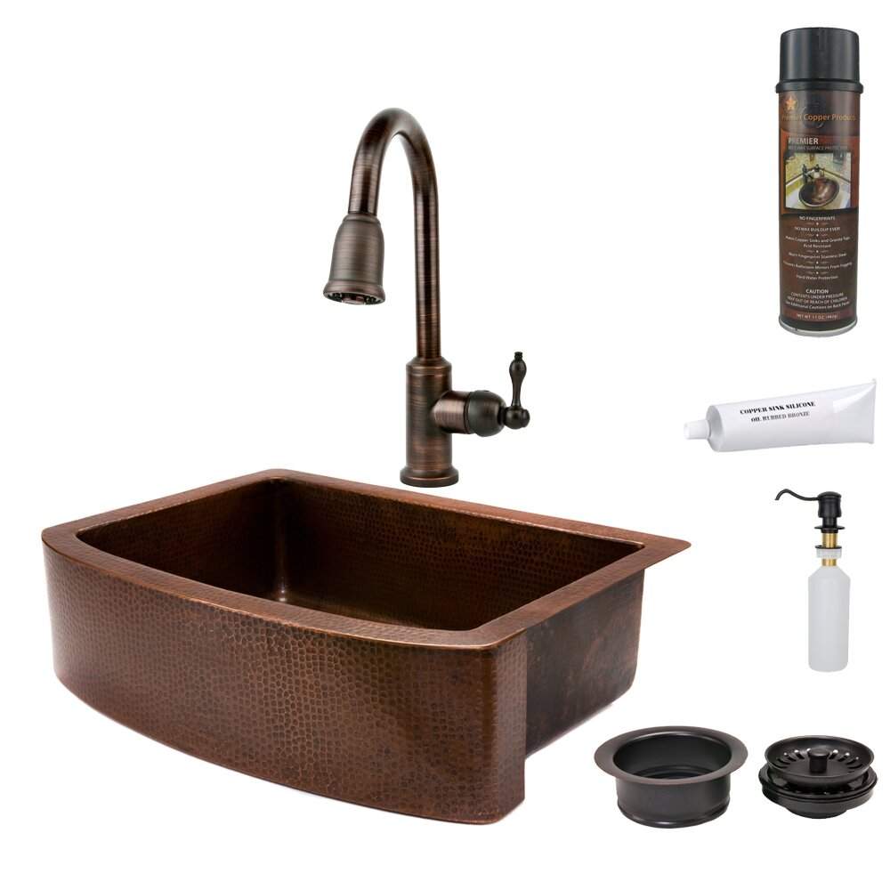 copper products 33 x 24 hammered apron kitchen sink reviews farmhouse. Interior Design Ideas. Home Design Ideas