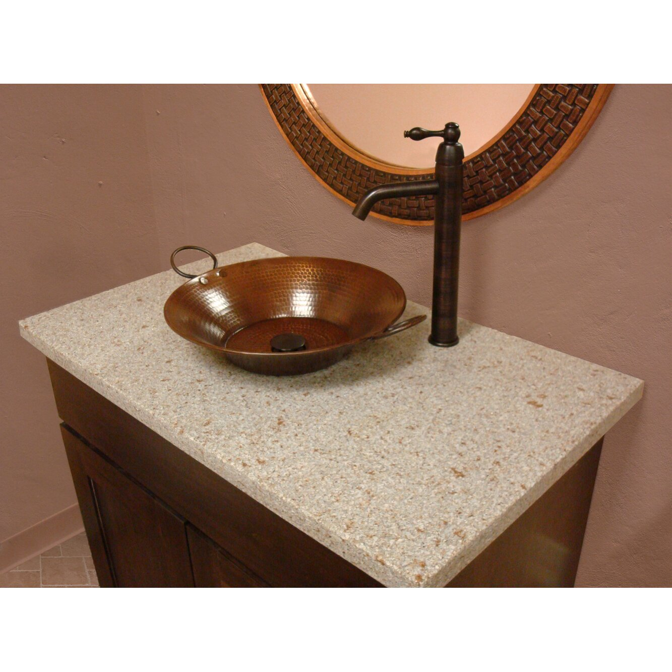 Premier copper products round miners pan hammered copper vessel bathroom sink reviews wayfair for Hammered copper bathroom sinks