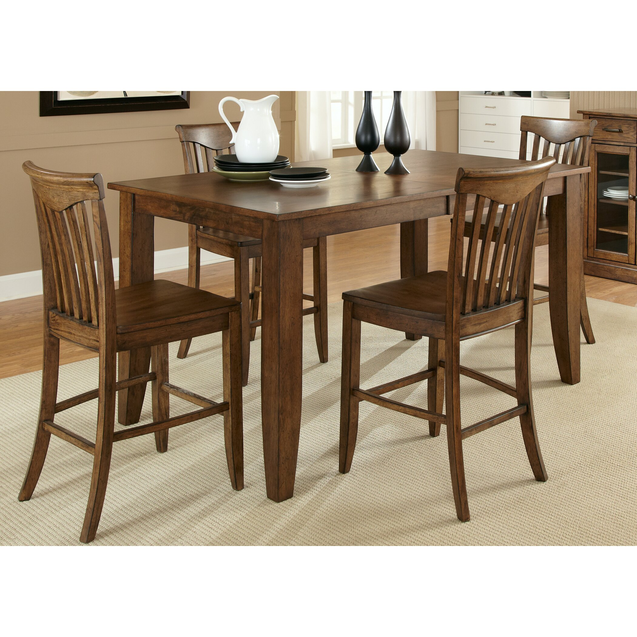 Liberty furniture arbor hills counter height extendable for Counter height extendable dining table
