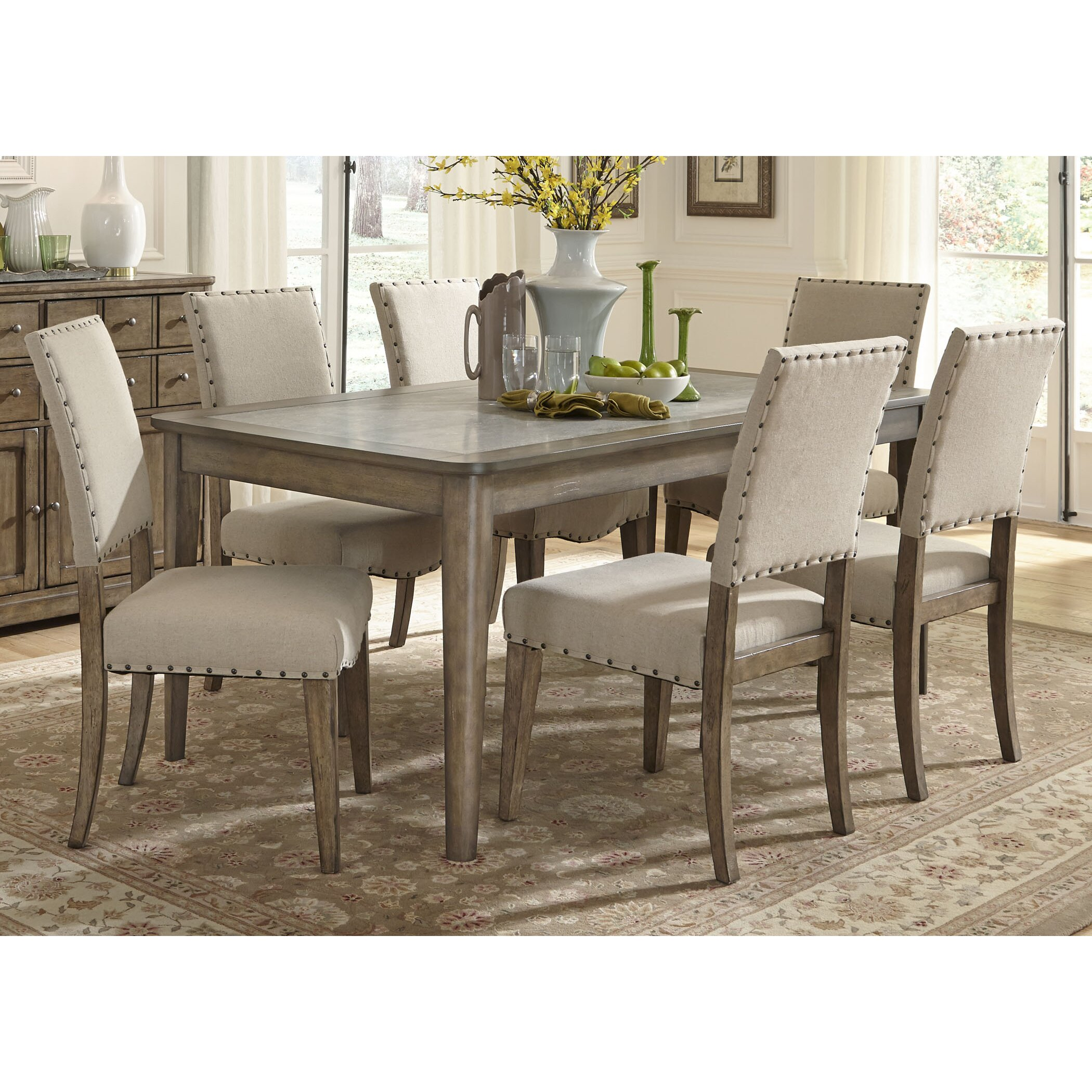 Liberty furniture 7 piece dining set reviews wayfair for Dining room chair set