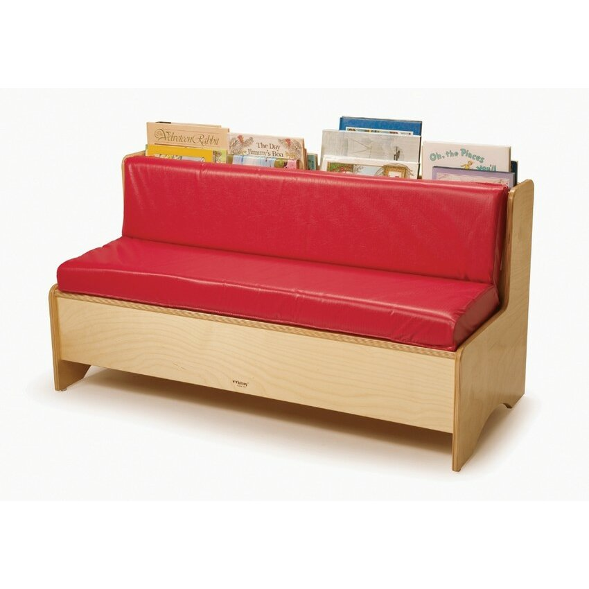 Whitney bros comfy reading center kids sofa with storage for Sofa organizer
