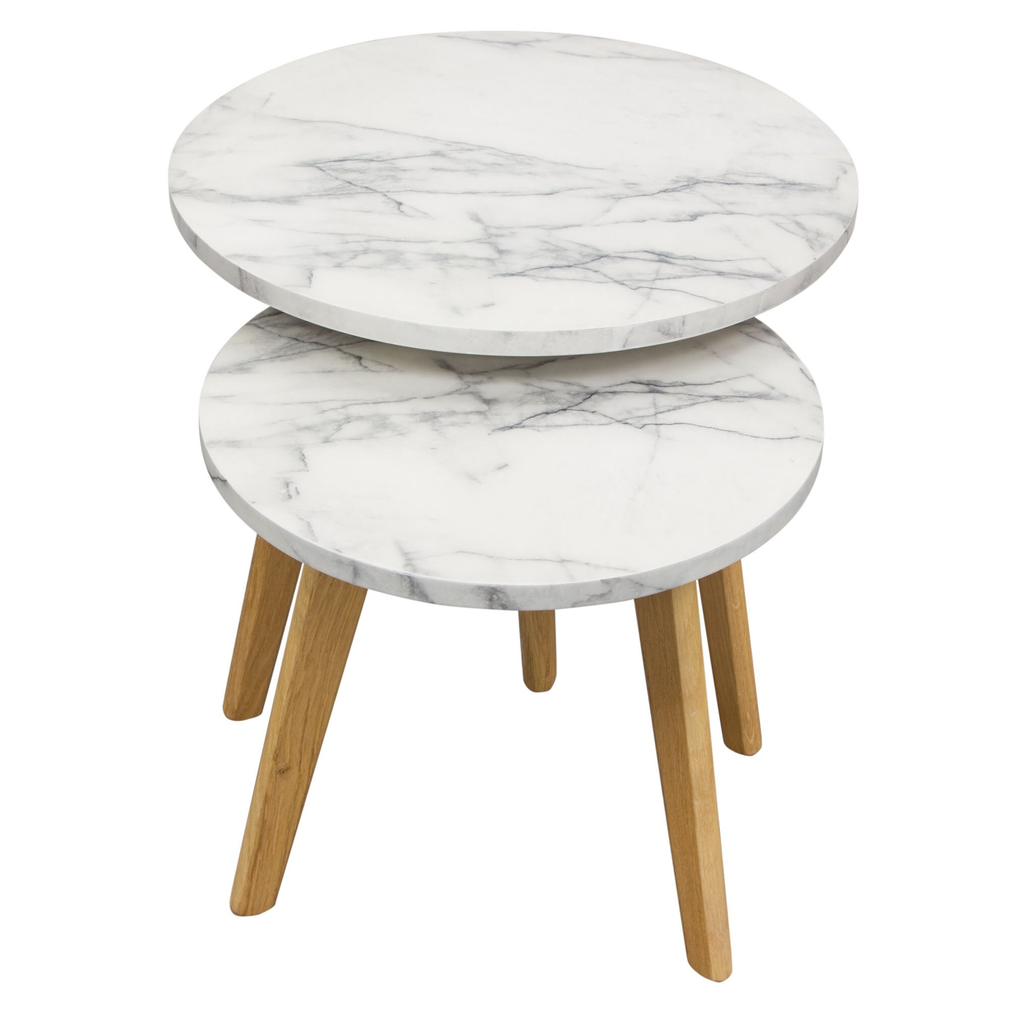 Pebble 2PC Nesting Set With Marble Finish Top And Oak Legs By Diamond . Full resolution  portraiture, nominally Width 2000 Height 2000 pixels, portraiture with #6E4F29.