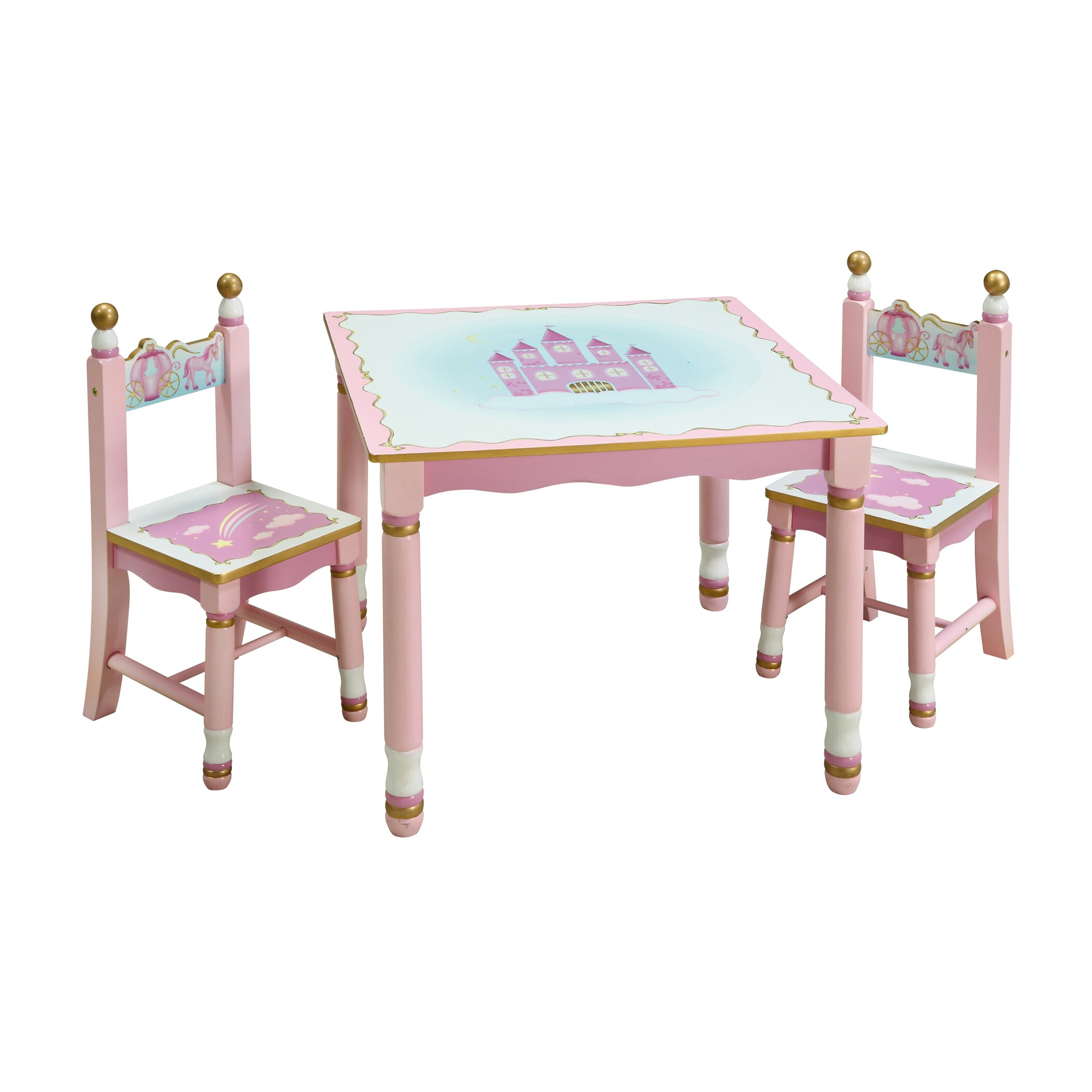 Guidecraft Princess Kids 3 Piece Table And Chair Set