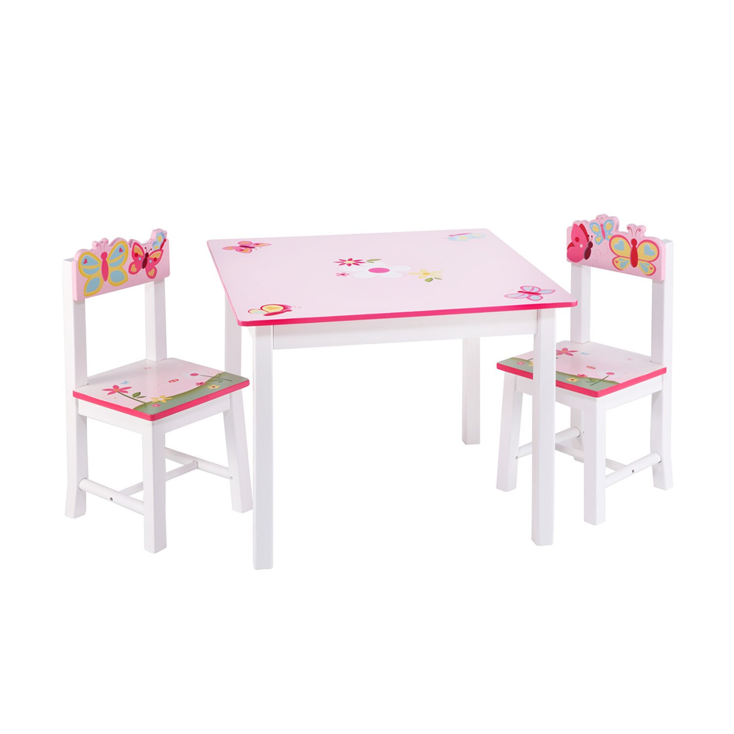 guidecraft butterfly buddies kids 3 piece table and chairs set reviews wayfair. Black Bedroom Furniture Sets. Home Design Ideas