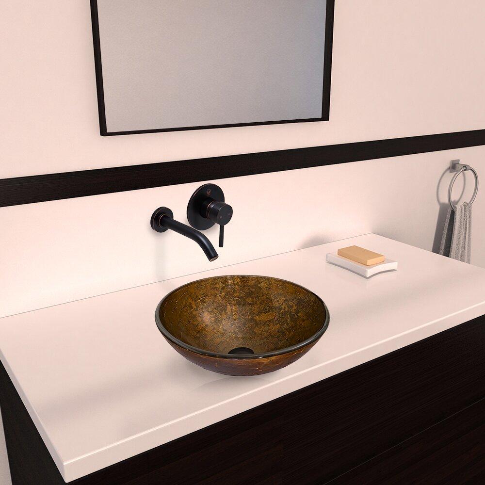 Vigo Textured Copper Glass Vessel Bathroom Sink And Olus
