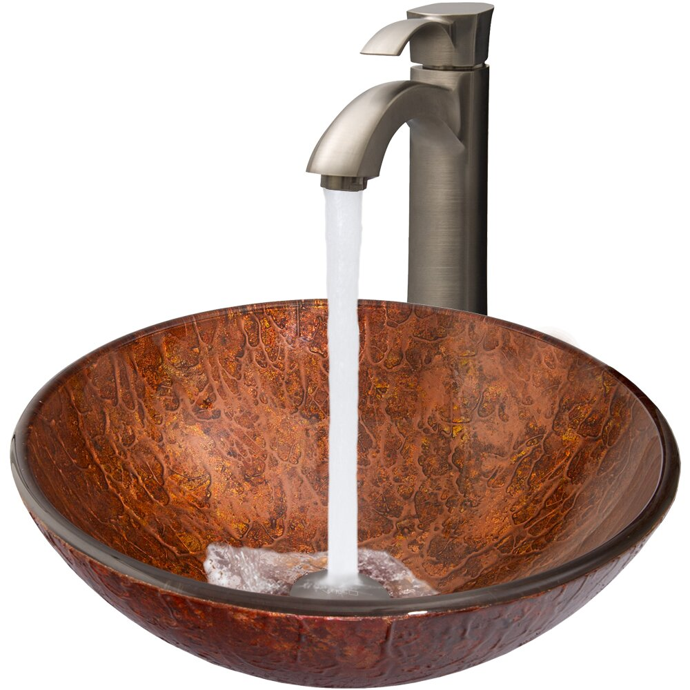 Mahogany Moon Glass Vessel Bathroom Sink and Otis Vessel Faucet with ...