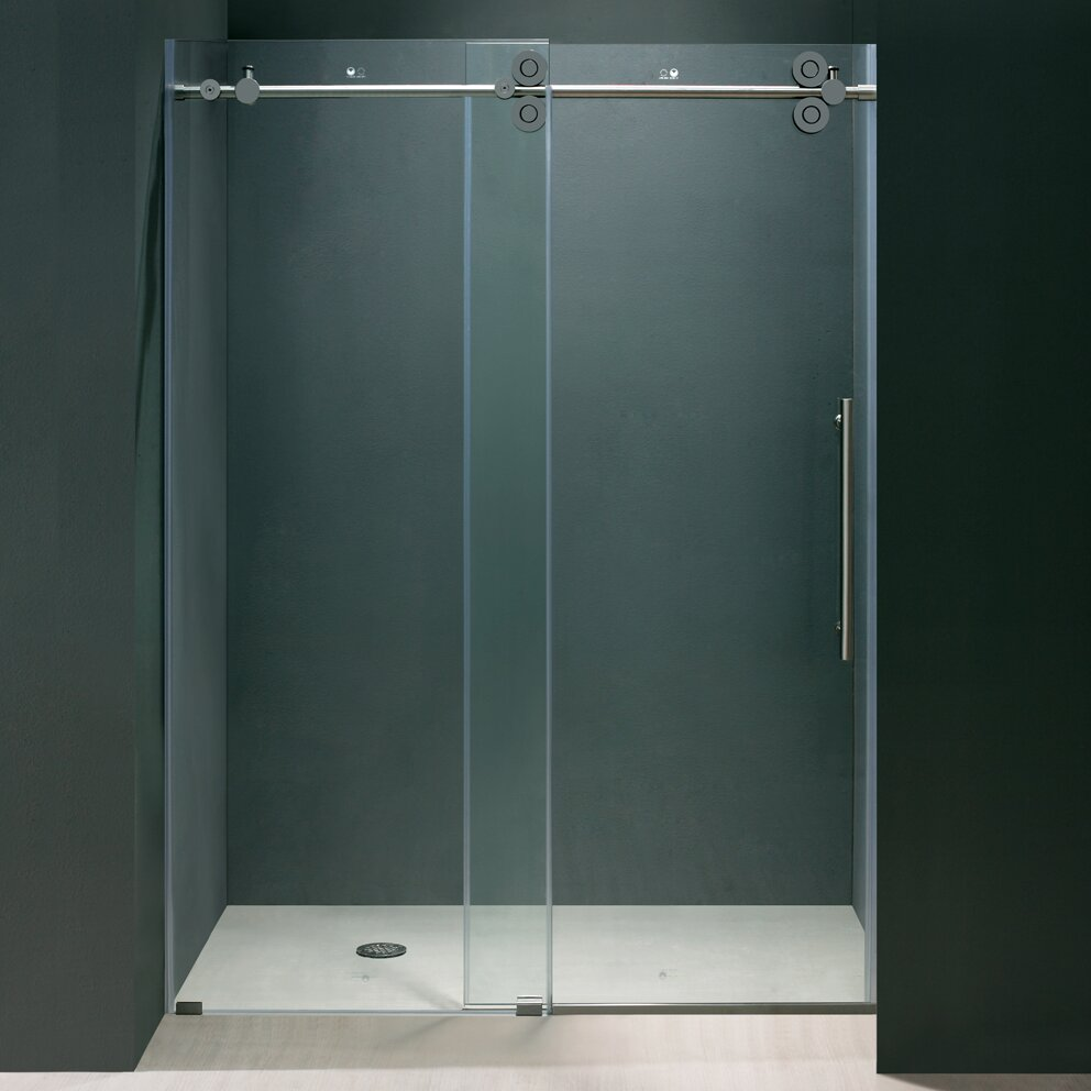 Vigo Elan 44 To 48 In Frameless Sliding Shower Door With 375 In Clear Glass And Chrome