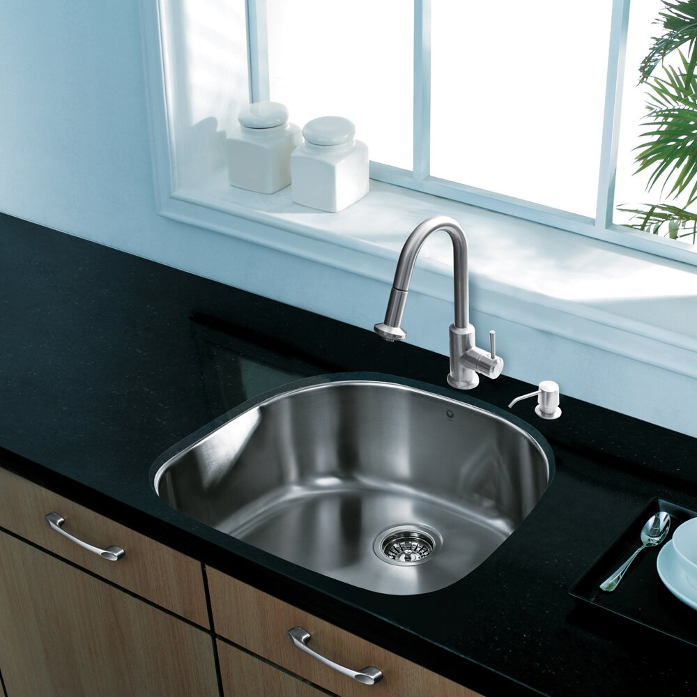 undermount ss kitchen sinks vigo 24 inch undermount single bowl 18 stainless 6602