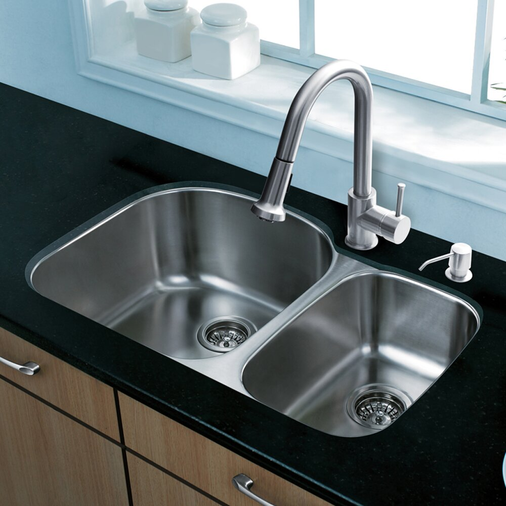 Sink Grids For Stainless Steel Sinks : Steel-Kitchen-Sink-with-Harrison-Stainless-Steel-Faucet-Two-Grids-Two