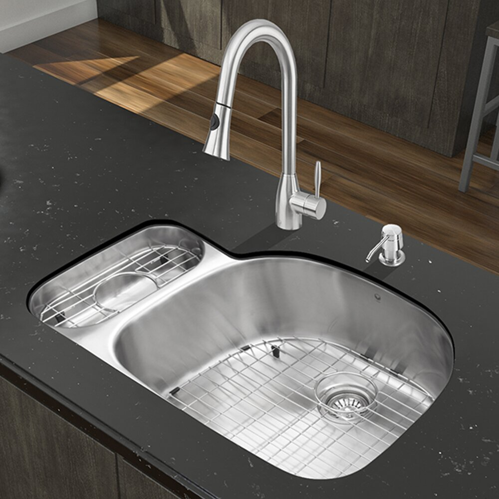 Vigo 32 inch undermount 80 20 double bowl 18 gauge - 18 inch kitchen sink ...