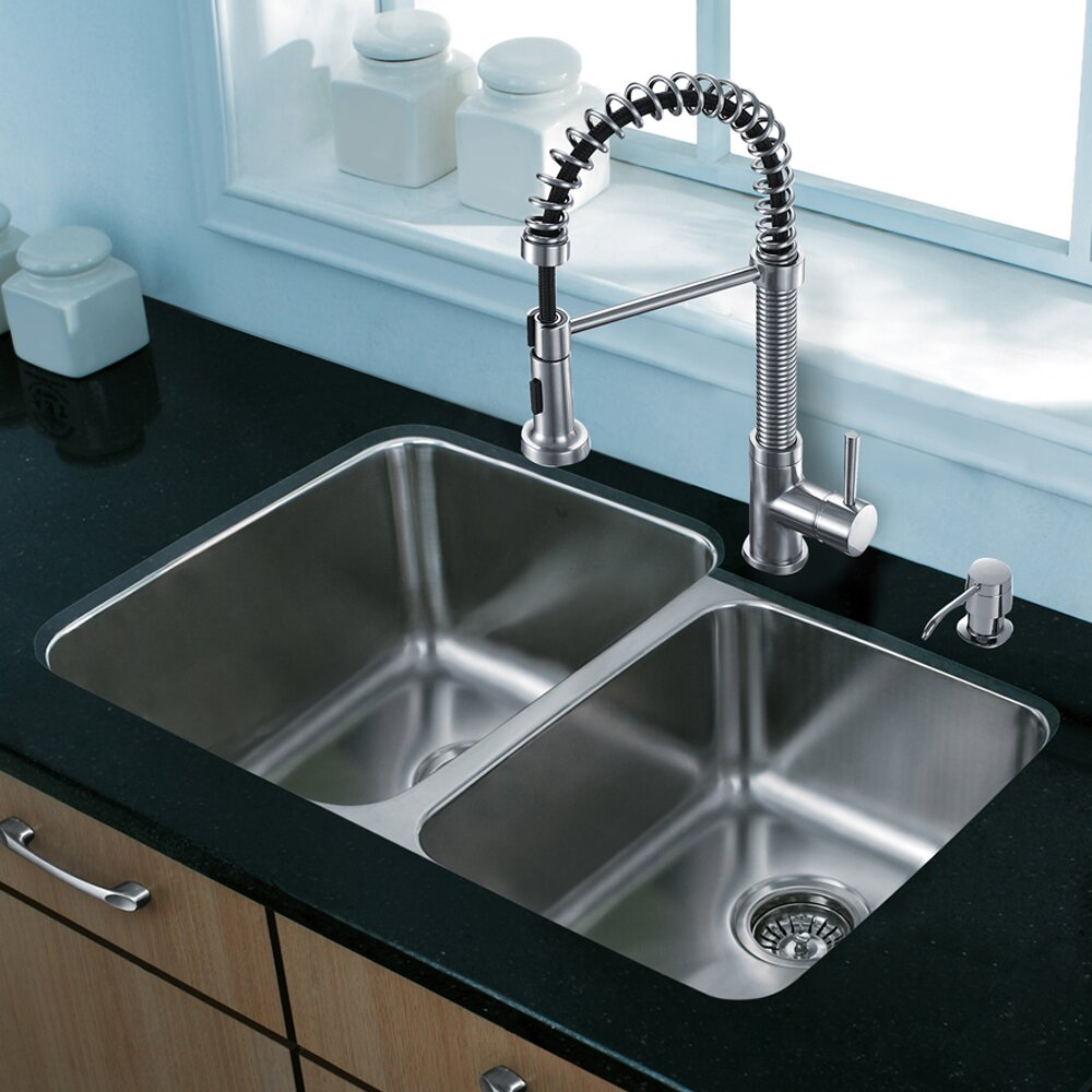 ... Steel Kitchen Sink with Edison Stainless Steel Faucet, Two Grids, Two