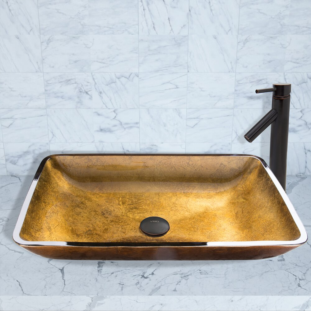 Vigo Rectangular Copper Glass Vessel Bathroom Sink And Dior Vessel Faucet With Pop Up Wayfair